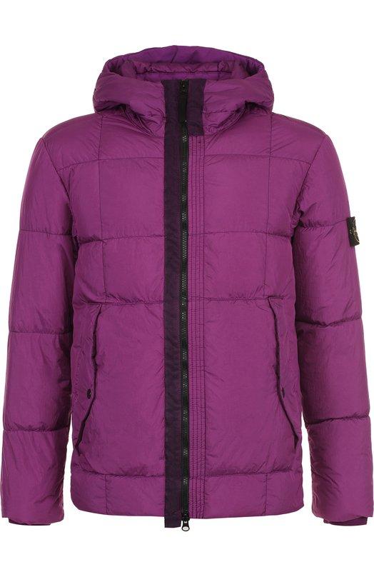 Купить Куртка на молнии с капюшоном Stone Island, 691541223, Индонезия, Сиреневый, Полиамид: 100%;