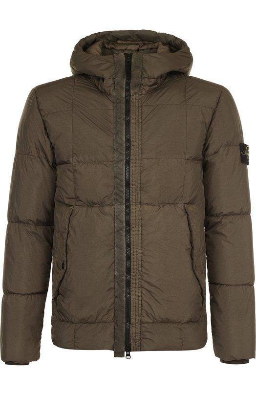 Купить Куртка на молнии с капюшоном Stone Island, 691541223, Индонезия, Хаки, Полиамид: 100%;