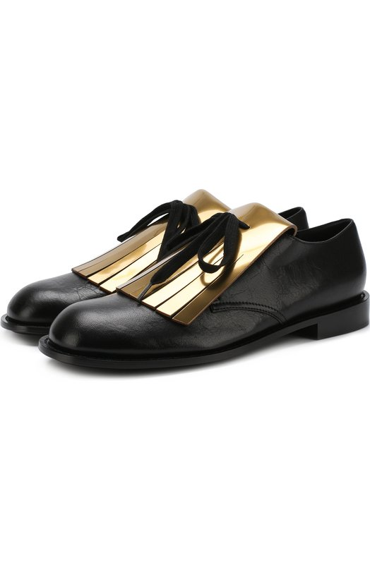 Купить Кожаные ботинки с бахромой Marni, ALMS000202/LA704, Италия, Черный, Подошва-кожа: 80%; Подошва-резина: 20%; Подкладка-кожа: 100%; Кожа: 100%;