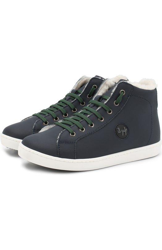 Купить Утепленные кожаные кеды на шнуровке с молнией Il Gufo, G929/SAHARA S0FT/31-34, Италия, Синий, Кожа натуральная: 100%; Подошва-резина: 100%; Подкладка-кожа: 100%; Стелька-овчина: 100%; Кожа: 100%;