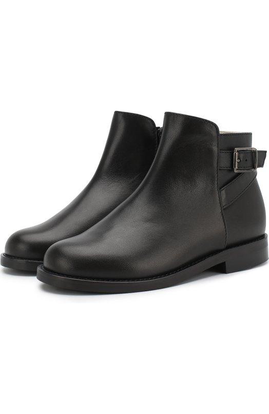 Купить Кожаные ботинки с ремешком Il Gufo, G430/VITELL0 NAPPAC0/27-30, Италия, Черный, Кожа натуральная: 100%; Стелька-кожа: 100%; Подошва-резина: 100%; Подкладка-кожа: 100%; Кожа искусственная: 100%;