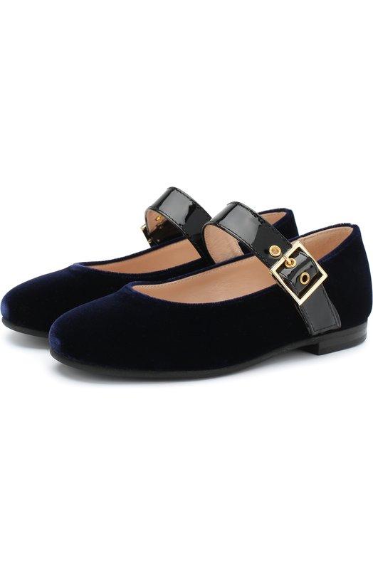 Текстильные туфли на лаковом ремешке Il Gufo