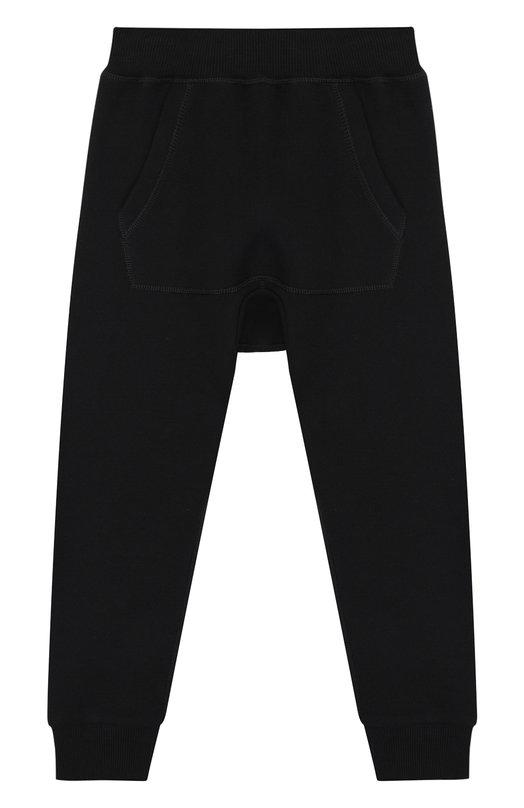 Купить Хлопковые джоггеры с заниженной линией шага Moncler Enfant, D2-954-87068-05-809B3/12-14A, Турция, Черный, Хлопок: 100%;