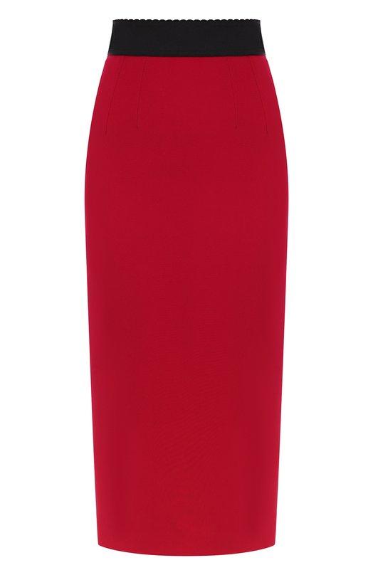 Купить Однотонная юбка-миди с эластичным поясом Dolce & Gabbana, F4ATST/FURDV, Италия, Фуксия, Вискоза: 51%; Ацетат: 46%; Эластан: 3%;