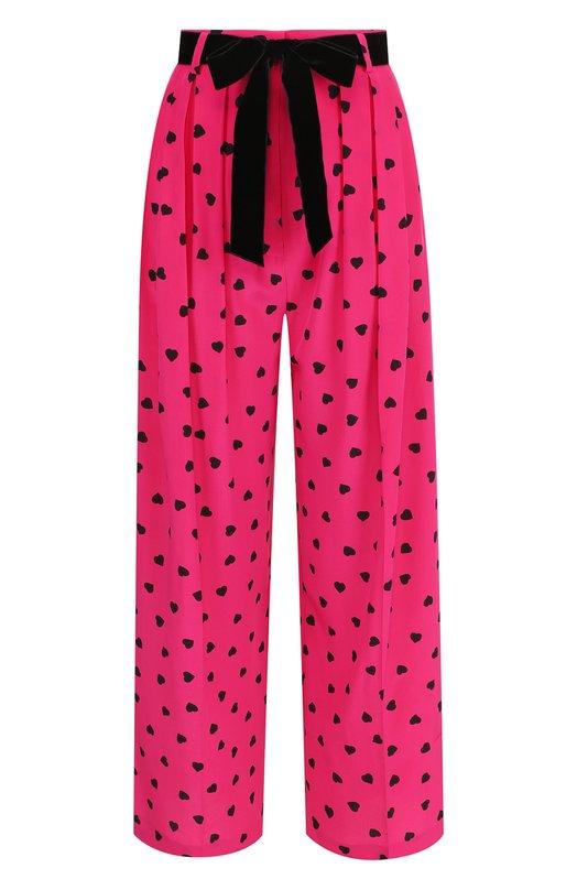 Купить Укороченные шелковые брюки с контрастным поясом и принтом Valentino, QB3RB2P546Q, Италия, Фуксия, Шелк: 100%;