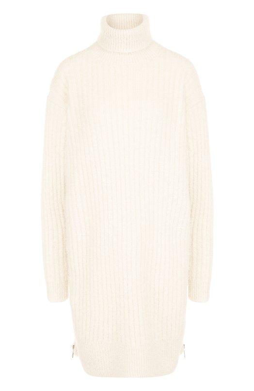 Купить Удлиненный шерстяной пуловер с воротником-стойкой Givenchy, BW90324Z2D, Италия, Кремовый, Шерсть: 75%; Полиэстер: 25%;