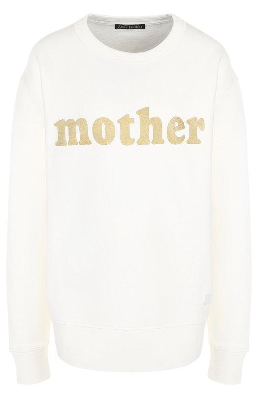 Купить Хлопковый пуловер с круглым вырезом и надписью Acne Studios, CI0004/W, Португалия, Белый, Хлопок: 100%;