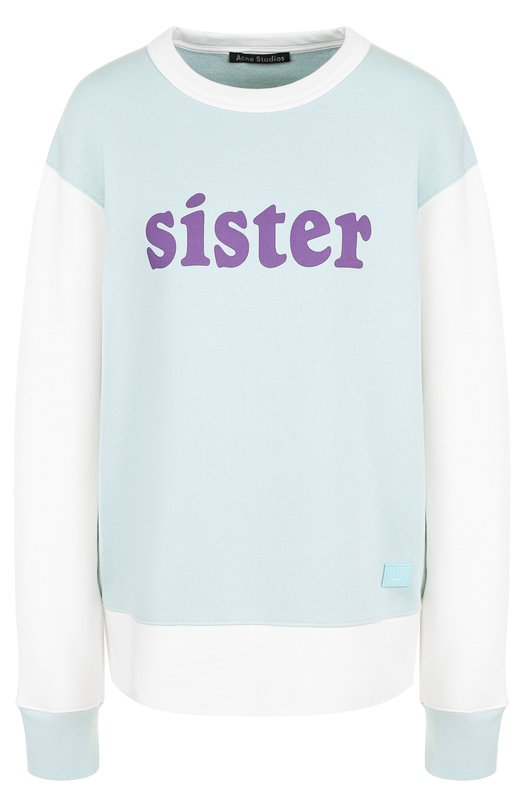 Купить Хлопковый пуловер с круглым вырезом и надписью Acne Studios, CI0004/W, Португалия, Голубой, Хлопок: 100%;