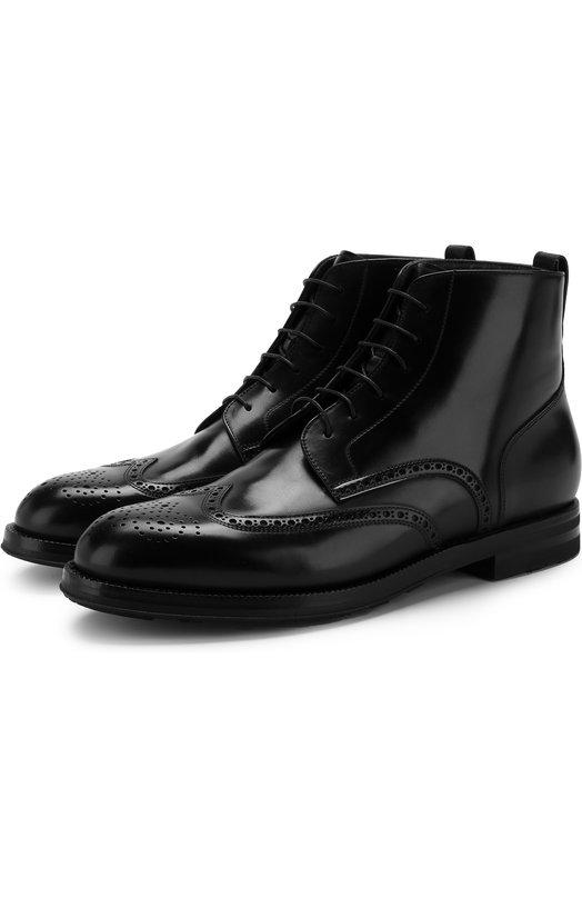 Купить Кожаные ботинки на шнуровке с брогированием W.Gibbs, 0639024/CARD0VAN, Италия, Черный, Подошва-резина: 100%; Подкладка-кожа: 100%; Кожа: 100%;