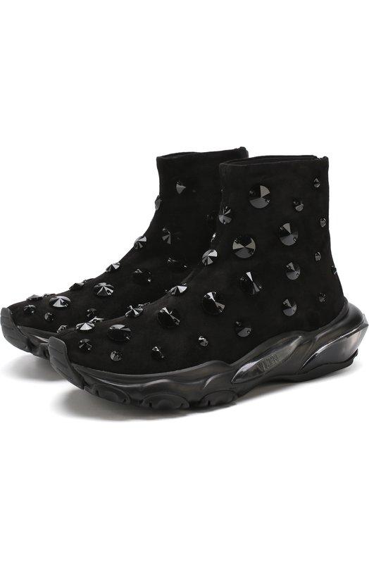 Купить Замшевые кроссовки Valentino Garavani Bounce с отделкой Valentino, QW1S0H48/BYJ, Италия, Черный, Подкладка-кожа: 100%; Отделка-стекло: 100%; Подошва-полимер: 100%; Кожа: 100%;