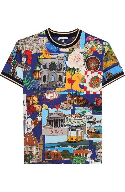 Купить Хлопковая футболка с принтом Dolce & Gabbana, L4JT8A/G700N/8-14, Италия, Синий, Хлопок: 100%;