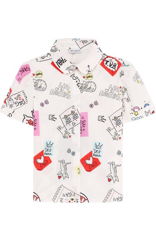 Купить Хлопковая блуза с принтом Dolce & Gabbana, L53S55/FSEGM/2-6, Румыния, Белый, Хлопок: 97%; Эластан: 3%;