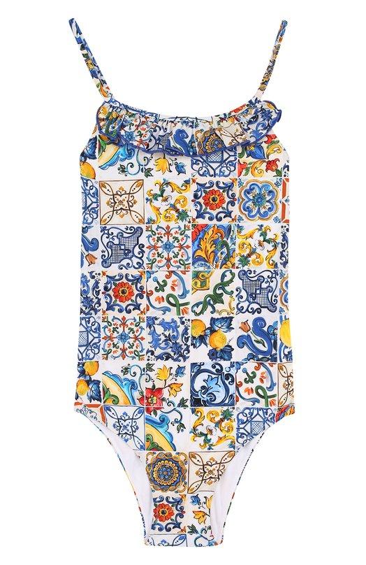 Купить Слитный купальник с оборкой Dolce & Gabbana, L5U847/FSG0E/2-6, Италия, Разноцветный, Полиамид: 73%; Эластан: 27%;