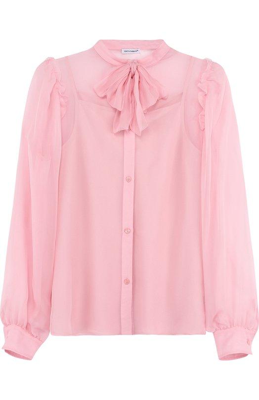 Купить Шелковая блуза с воротником аскот Dolce & Gabbana, L53S65/FU1HW/8-14, Венгрия, Светло-розовый, Шелк: 100%;
