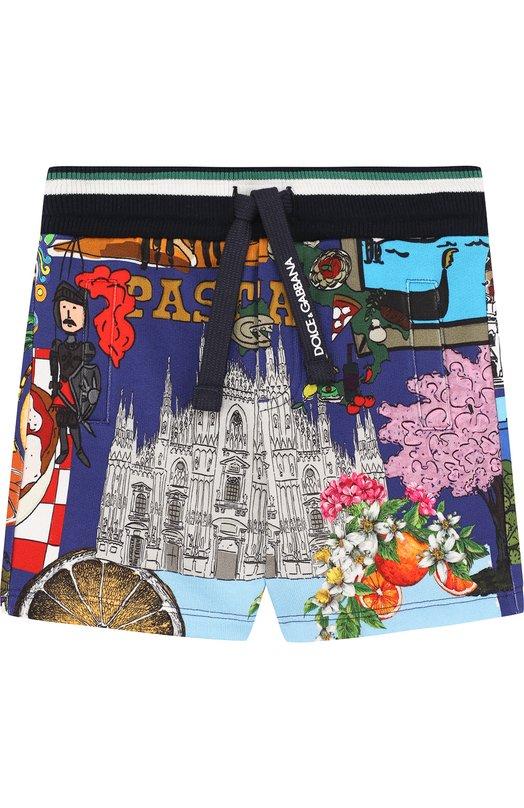 Купить Хлопковые шорты с поясом на кулиске Dolce & Gabbana, L1JQD4/G700L, Италия, Синий, Хлопок: 100%;