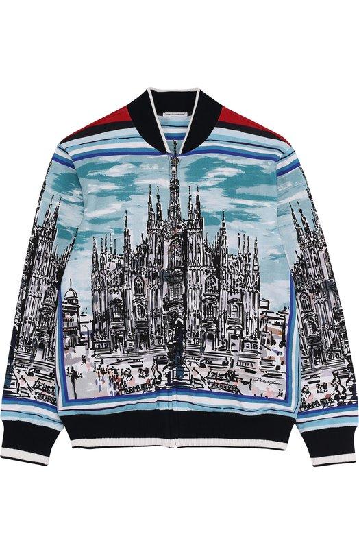 Купить Хлопковый кардиган на молнии с принтом Dolce & Gabbana, L4JW3H/G700T/2-6, Италия, Разноцветный, Хлопок: 100%;