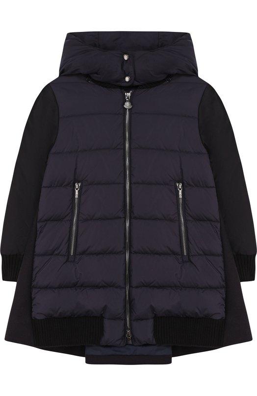 Купить Пуховое пальто с текстильной спинкой и капюшоном Moncler Enfant, D2-954-49387-85-68352/12-14A, Армения, Синий, Полиамид: 100%;
