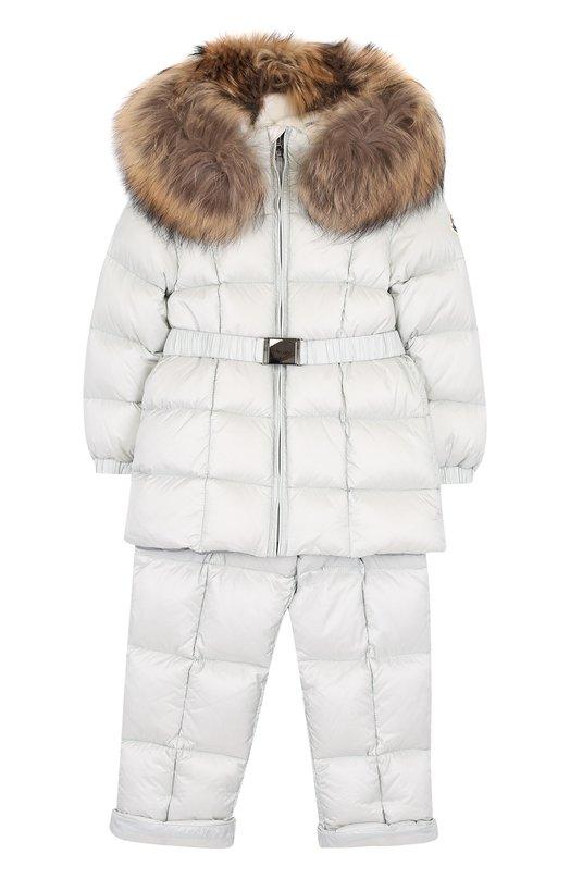 Купить Комплект из пуховой куртки и комбинезона на подтяжках Moncler Enfant, D2-951-70336-25-53048, Грузия, Светло-серый, Полиамид: 100%; Отделка капюшона-мех/енотовид. собака/: 100%;