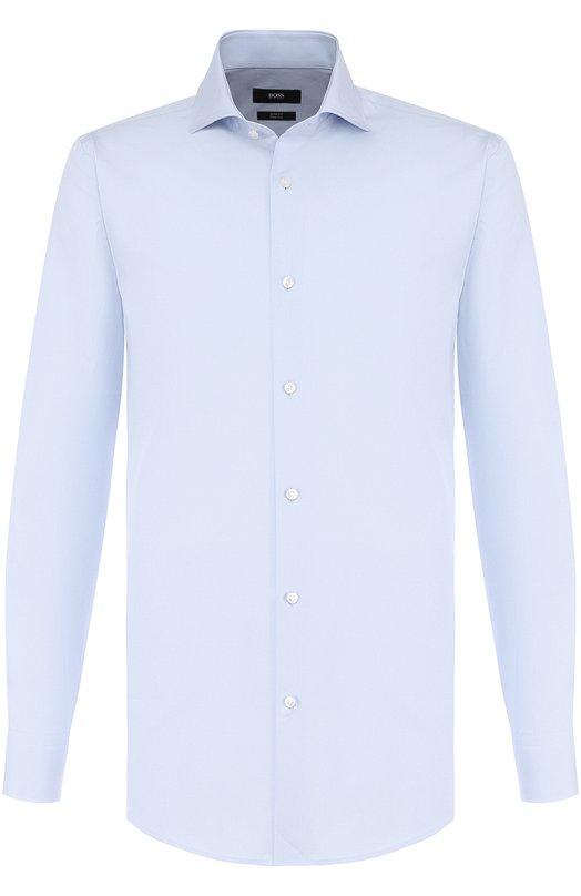 Купить Хлопковая сорочка с воротником акула BOSS, 50393926, Италия, Голубой, Хлопок: 100%;