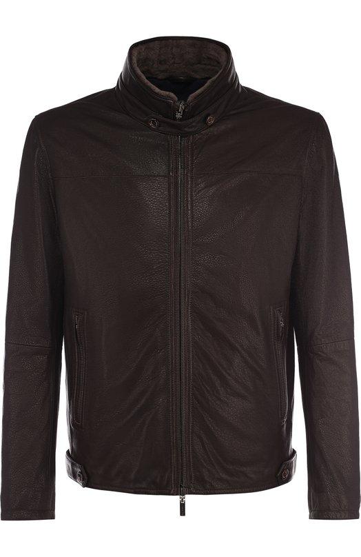 Купить Кожаная куртка с меховой отделкой воротника Gimo's, 97050/46, Италия, Темно-коричневый, Подкладка-текстиль: 100%; Кожа: 100%;