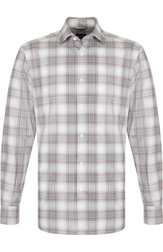 Купить Хлопковая рубашка в клетку Ermenegildo Zegna, URX15/SRF5, Румыния, Серый, Хлопок: 100%;