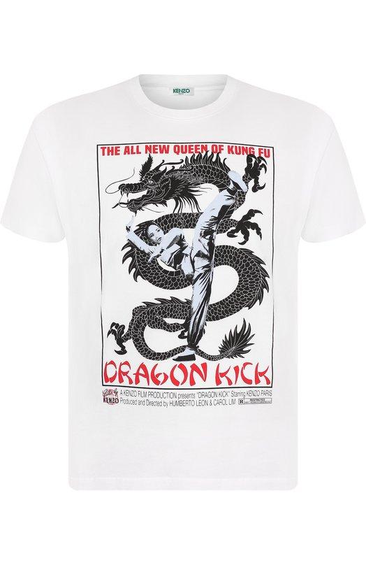 Купить Хлопковая футболка с принтом Kenzo, 5TS0184SD, Португалия, Белый, Хлопок: 100%;