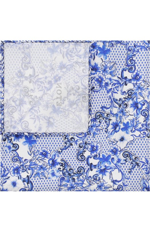 Купить Шелковый платок с принтом Eton, A000 30677, Италия, Синий, Шелк: 100%;