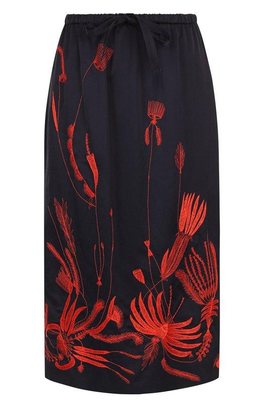 Купить Юбка-миди с декоративной вышивкой и эластичным поясом Dries Van Noten, 182-30810-6360, Индия, Темно-синий, Вискоза: 67%; Хлопок: 33%;