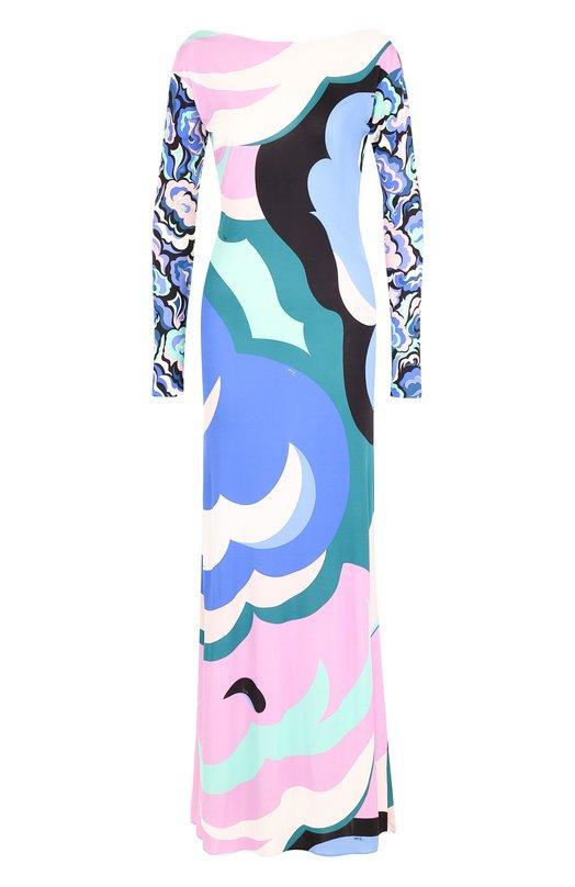 Купить Платье-макси из смеси вискозы и шелка с принтом Emilio Pucci, 8RJL31/8R734, Италия, Разноцветный, Вискоза: 83%; Шелк: 17%;