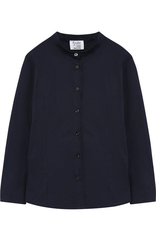 Купить Хлопковая блуза с воротником-стойкой Aletta, AC888493ML/9A-16A, Италия, Темно-синий, Хлопок: 97%; Эластан: 3%;