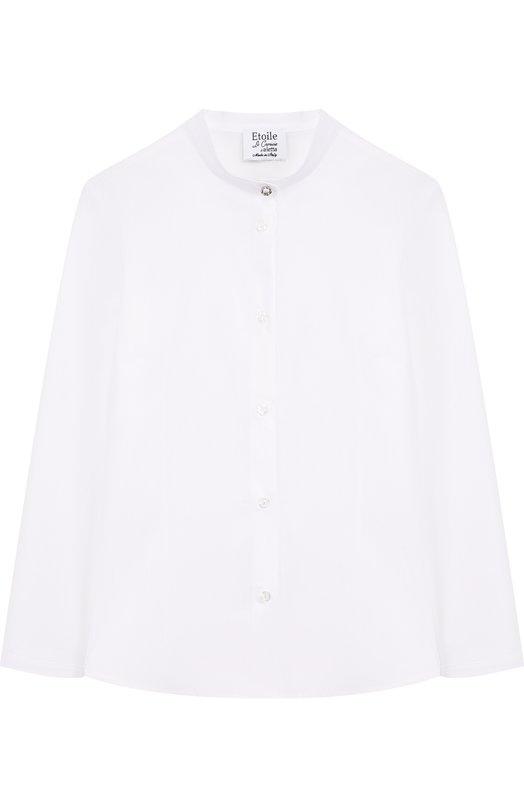 Купить Хлопковая блуза с воротником-стойкой Aletta, AC888493ML/9A-16A, Италия, Белый, Хлопок: 97%; Эластан: 3%;