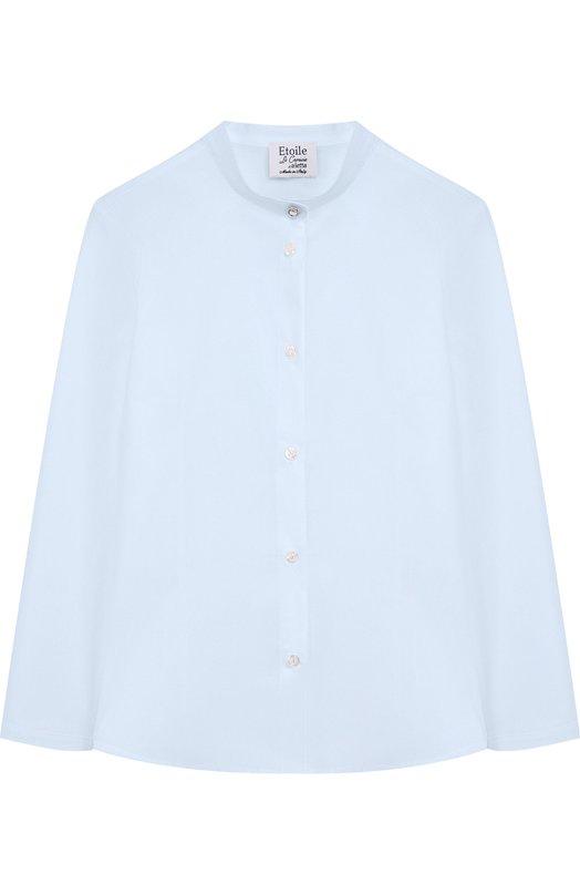 Купить Хлопковая блуза с воротником-стойкой Aletta, AC888493ML/9A-16A, Италия, Голубой, Хлопок: 97%; Эластан: 3%;