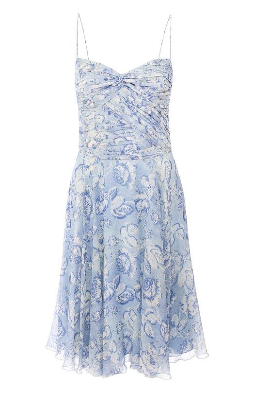 Шелковое мини-платье на бретельках с принтом Ralph Lauren, 290708553, Италия, Синий, Шелк: 100%;  - купить