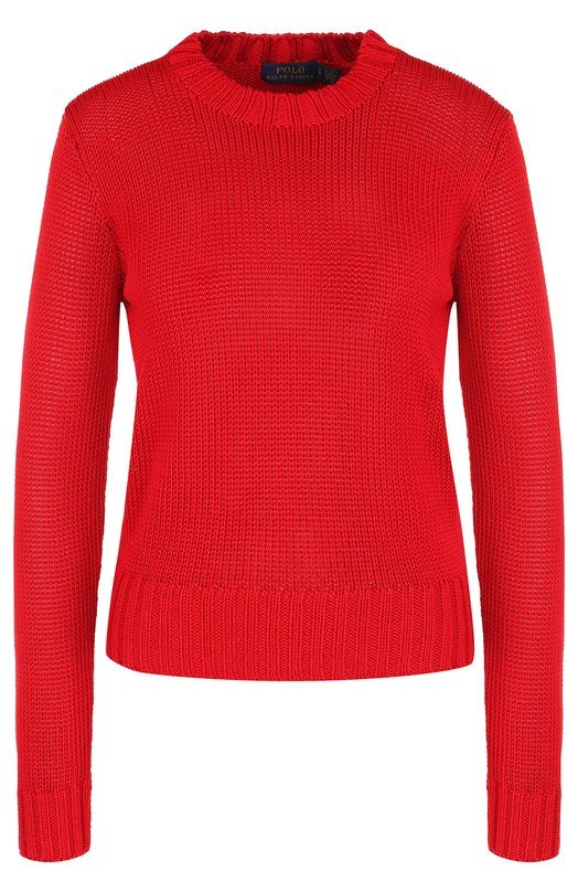 Купить Однотонный вязаный пуловер с круглым вырезом Polo Ralph Lauren, 211704922, Китай, Красный, Шерсть: 8%; Вискоза: 40%; Полиамид: 37%; Полиэстер: 15%;