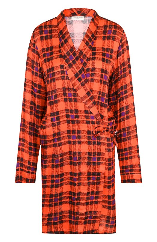 Купить Удлиненная блуза в клетку с запахом Dries Van Noten, 182-30716-6011, Венгрия, Красный, Вискоза: 100%;