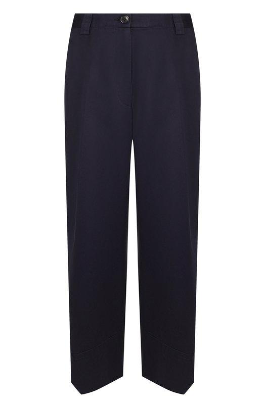 Купить Укороченные хлопковые брюки свободного кроя Dries Van Noten, 182-30915-6380, Румыния, Темно-синий, Хлопок: 100%;