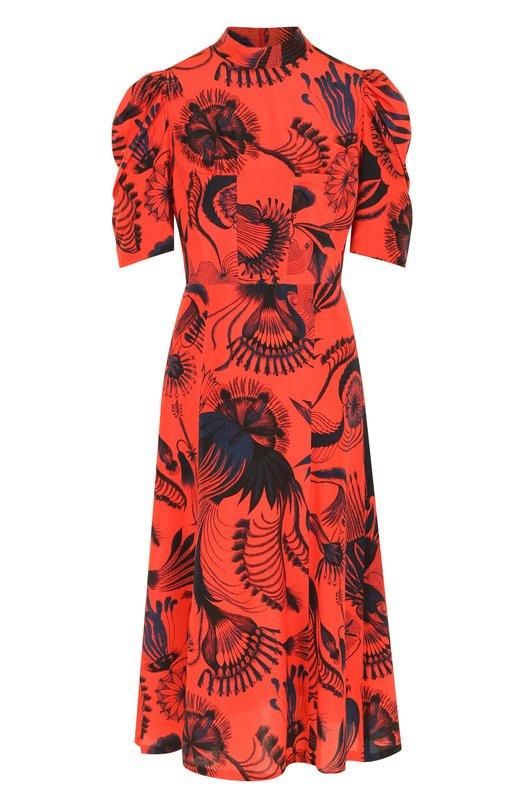 Купить Приталенное шелковое платье-миди с принтом и воротником-стойкой Dries Van Noten, 182-31012-6222, Болгария, Красный, Шелк: 100%;