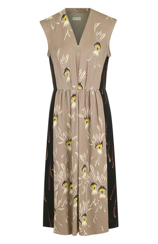 Купить Приталенное платье-миди с V-образным вырезом и принтом Dries Van Noten, 182-31073-6086, Италия, Бежевый, Вискоза: 100%;
