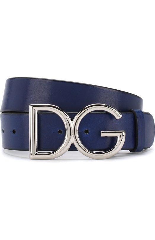 Купить Кожаный ремень с фигурной пряжкой Dolce & Gabbana, BC4245/AI894, Италия, Синий, Кожа: 100%;