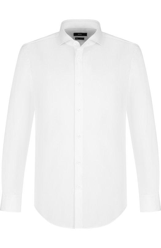 Купить Хлопковая сорочка с воротником акула BOSS, 50393216, Турция, Белый, Хлопок: 100%;