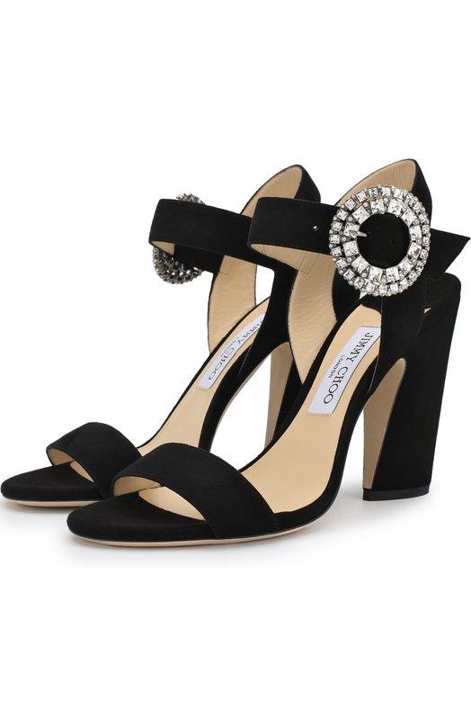 Купить Замшевые босоножки Mischa 100 на устойчивом каблуке Jimmy Choo, MISCHA 100/UCB, Италия, Черный, Подошва-кожа: 80%; Подошва-резина: 20%; Подкладка-кожа: 100%; Кожа: 100%;
