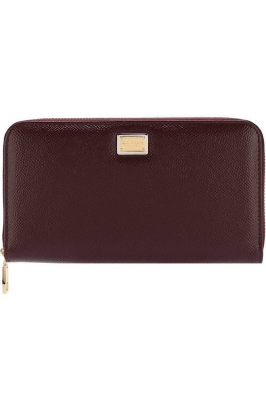 Купить Кожаный кошелек на молнии с логотипом бренда Dolce & Gabbana, BI0473/A1001, Италия, Бордовый, Кожа натуральная: 100%;