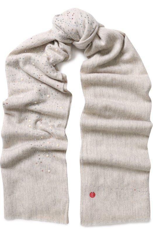 Купить Кашемировый палантин с декоративной отделкой Vintage Shades, 13152, Индия, Светло-серый, Кашемир: 100%;