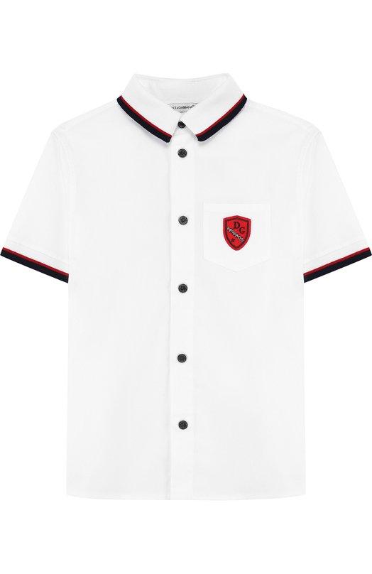 Купить Хлопковая рубашка с контрастной отделкой Dolce & Gabbana, L4JS23/G70KJ/2-6, Италия, Белый, Хлопок: 97%; Эластан: 3%;