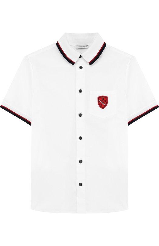 Купить Хлопковая рубашка с контрастной отделкой Dolce & Gabbana, L4JS23/G70KJ/8-14, Италия, Белый, Хлопок: 97%; Эластан: 3%;