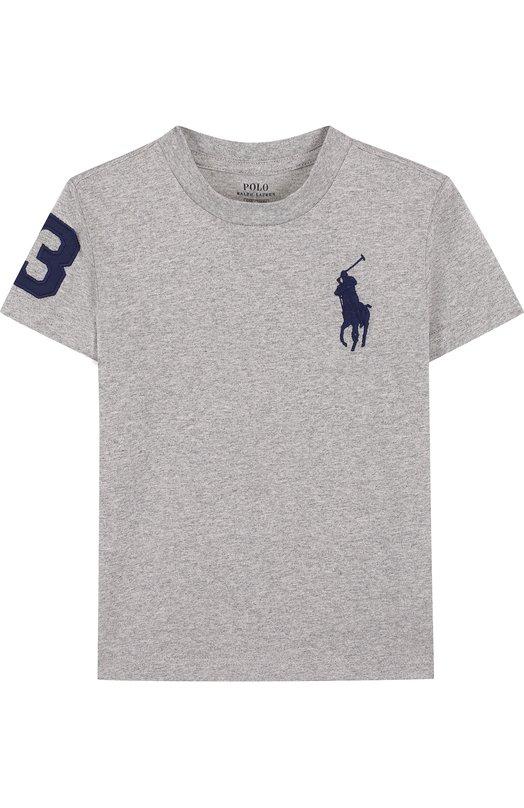 Купить Хлопковая футболка с логотипом бренда Polo Ralph Lauren, 322690087, Индия, Серый, Хлопок: 100%;