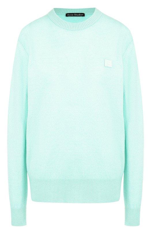 Купить Однотонный шерстяной пуловер с круглым вырезом Acne Studios, 29Q173/W, Китай, Светло-зеленый, Шерсть: 100%;
