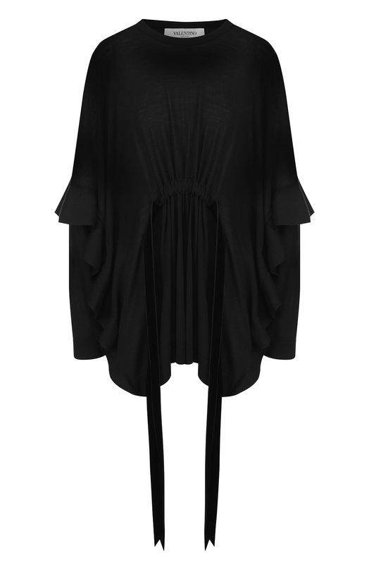 Купить Однотонный шерстяной пуловер с поясом и оборками Valentino, QB2KC30N448, Италия, Черный, Шерсть: 100%;