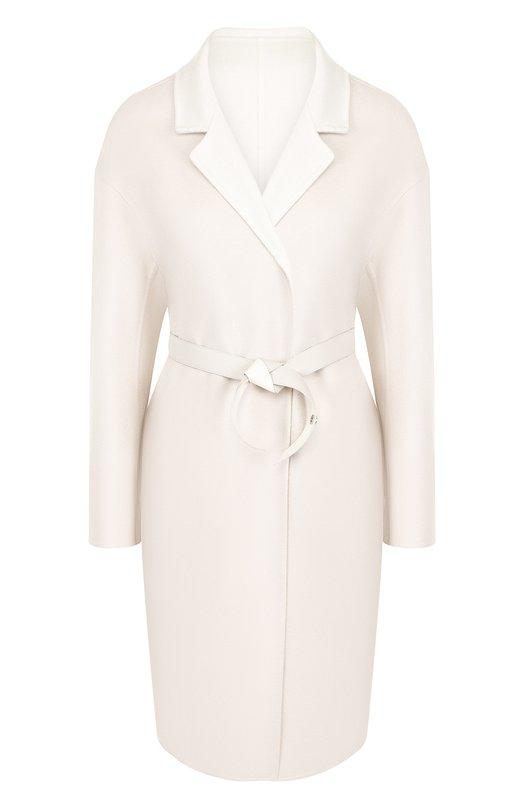 Купить Кашемировое пальто с поясом и накладными карманами Loro Piana, FAI2747, Италия, Белый, Кашемир: 100%;