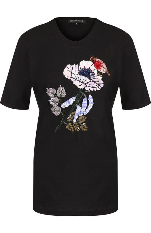 Купить Хлопковая футболка с декоративной отделкой Markus Lupfer, TEE060, Индия, Черный, Хлопок: 100%;